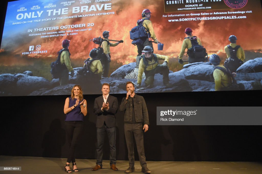 Producers Molly Smith, Trent Luckinbill and singer-songwriter Dierks Bently attend 'Only The Brave' Nashville screening hosted by Dierks Bentley at The Belcourt Theatre on October 12, 2017 in Nashville, Tennessee.
