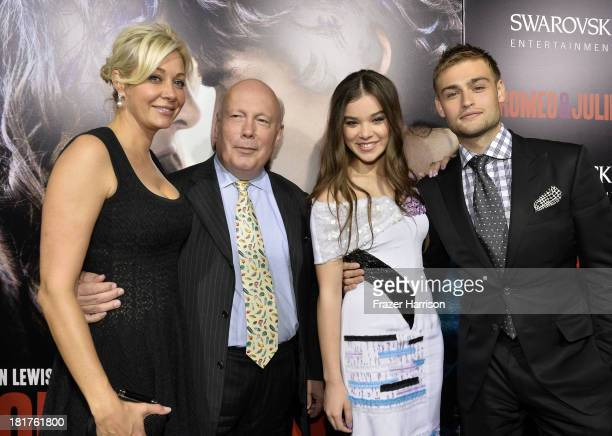 Producers Nadja Swarovski Julian Fellowes actors Hailee Steinfeld and Douglas Booth arrive at the premiere of Relativity Media's Romeo And Juliet at...