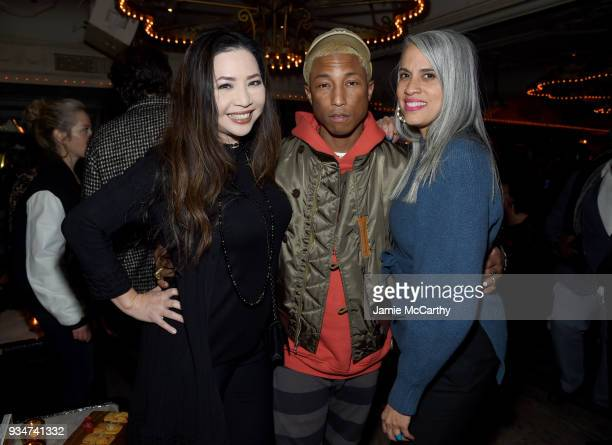 Producers Nina Yang Bongiovi Pharrell Williams and Mimi Valdes attend a special screening of the Netflix film 'Roxanne Roxanne' at the SVA Theater on...
