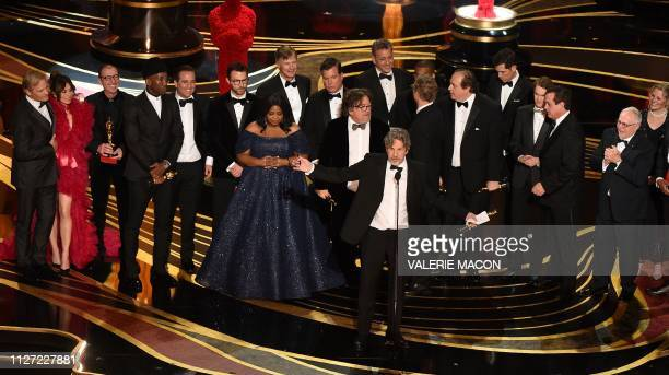 TOPSHOT Producers of Best Picture nominee Green Book Peter Farrelly and Nick Vallelonga accepts the award for Best Picture with the whole crew on...