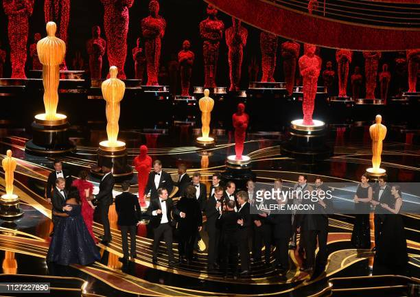 Producers of Best Picture nominee Green Book Peter Farrelly and Nick Vallelonga accepts the award for Best Picture with the whole crew on stage...