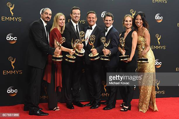 Producers of 'The Voice' and Host Carson Daly winners of Outstanding RealityCompetition Program pose in the press room at the68th Annual Primetime...