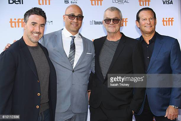 Producers Patrick Aiello Lawrence Smith director Jordan Roberts and producer Mark Axelowitz attend the 'Burn Your Maps' premiere during the 2016...
