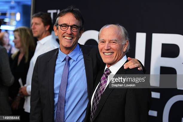 """Producers Patrick Crowley and Frank Marshall attend """"The Bourne Legacy"""" premiere at the Ziegfeld Theater on July 30, 2012 in New York City."""