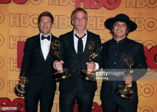Producers Per Saari JeanMarc Vallee and Nathan Ross attend HBO's Post Emmy Awards Reception at The Plaza at the Pacific Design Center on September 17...