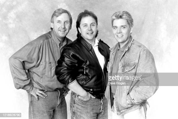 PWL Producers Pete Waterman Matt Aitken and Mike Stock during the recording of the Band Aid 2 charity single 'Do They Know It's Christmas' PWL...