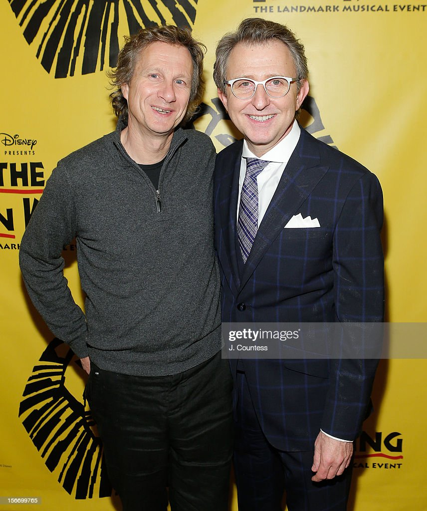 Producers Peter Schneider and Thomas Schumacher attend the afterparty for 'The Lion King' Broadway 15th Anniversary Celebration at Minskoff Theatre on November 18, 2012 in New York City.
