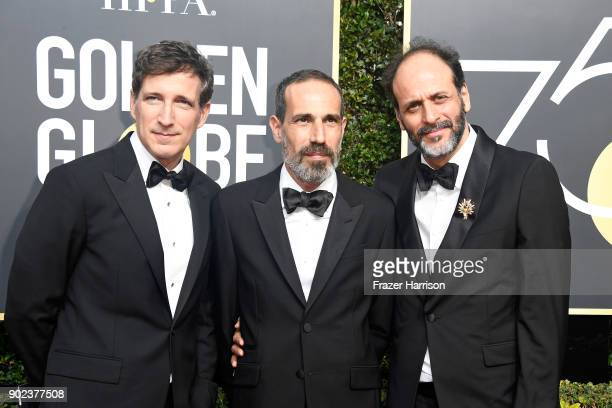 Producers Peter Spears and Marco Morabito and director Luca Guadagnino attend The 75th Annual Golden Globe Awards at The Beverly Hilton Hotel on...