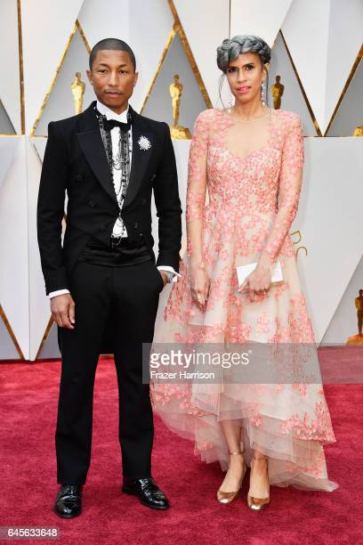 Producers Pharrell Williams and Mimi Valdes attend the 89th Annual Academy Awards at Hollywood Highland Center on February 26 2017 in Hollywood...