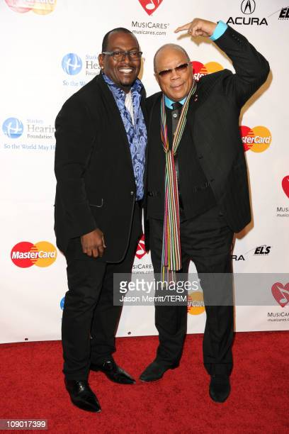 Producers Randy Jackson and Qunicy Jones arrives at the 2011 MusiCares Person of the Year Tribute to Barbra Streisand held at the Los Angeles...