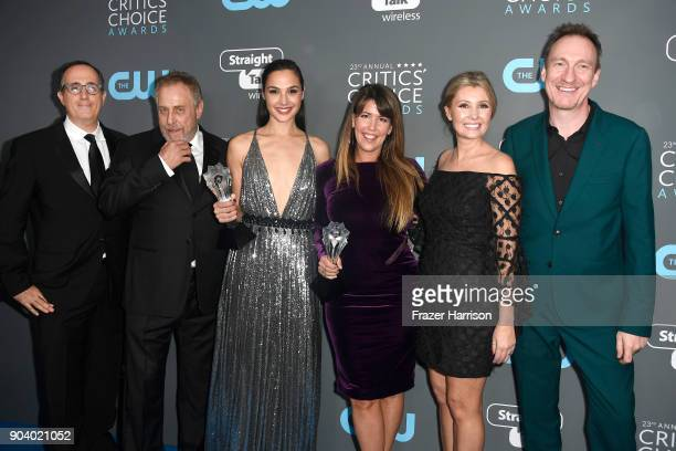 Producers Richard Suckle and Charles Roven actor Gal Gadot director Patty Jenkins Connie Nielsen and David Thewlis recipients of the Best Action...