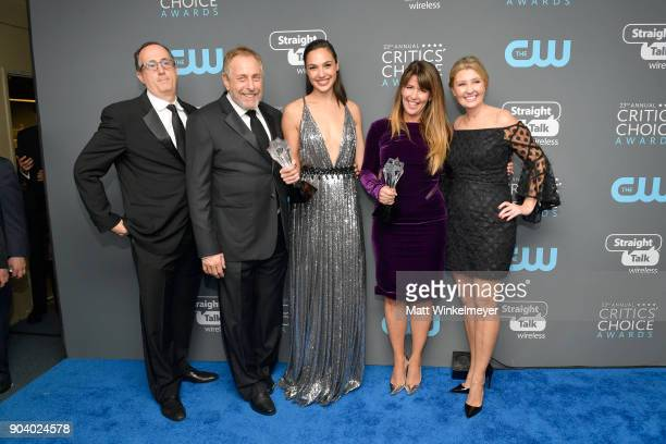 Producers Richard Suckle and Charles Roven actor Gal Gadot director Patty Jenkins and Connie Nielsen recipients of the Best Action Movie award for...