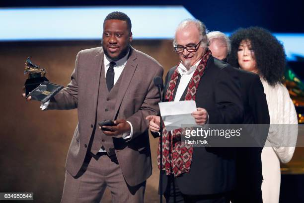 Producers Robert Glasper and Steve Berkowitz accept the Best Compilation Soundtrack for Visual Media award for 'Miles Ahead' onstage at the Premiere...