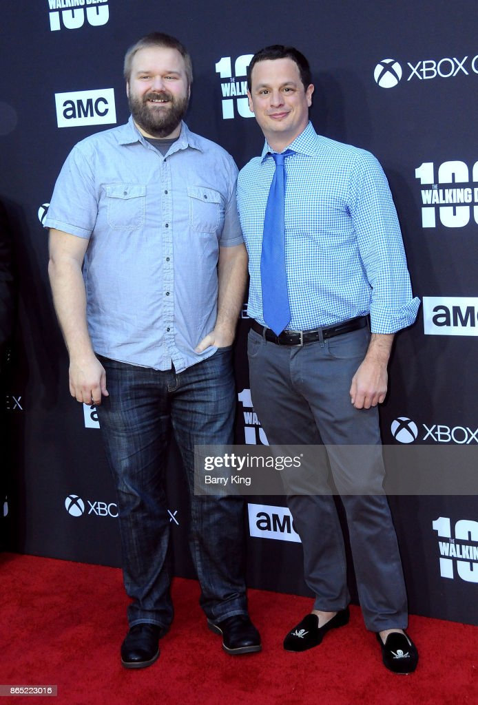 Producers Robert Kirkman and Dave Alpert attend AMC Celebrates The 100th Episode of 'The Walking Dead' at The Greek Theatre on October 22, 2017 in Los Angeles, California.