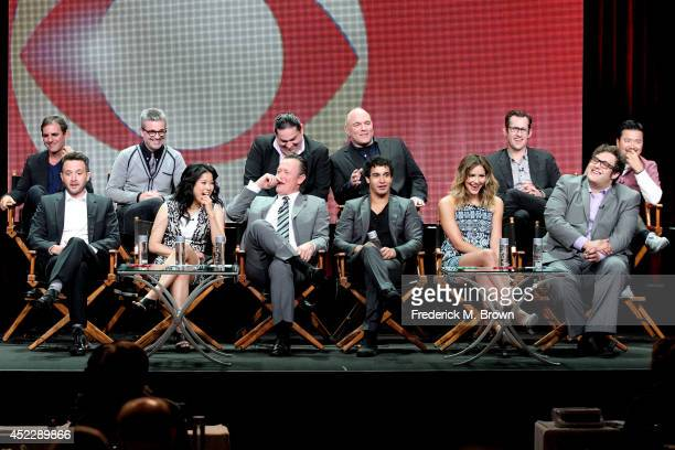 Producers Roberto Orci and Alex Kurtzman CEO of Scorpion Computer Services Walter O'Brien producers Nick Santora Nicholas Wootton and Justin Lin and...