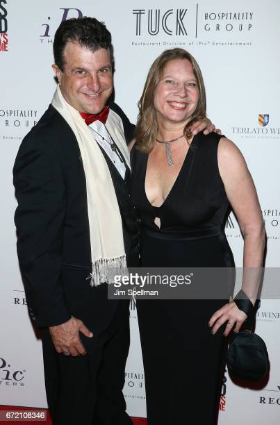 """Producers Ronnie Rodriguez and Kathleen Squires attend the """"James Beard: America's First Foodie"""" NYC premiere at iPic Fulton Market on April 23, 2017..."""