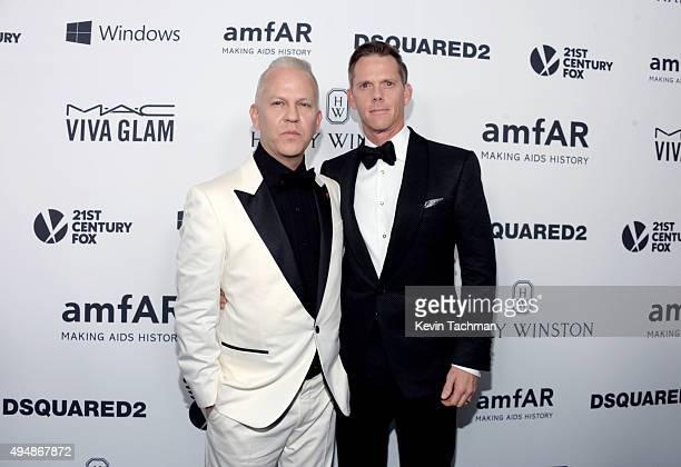 Producers Ryan Murphy and David Miller arrive at the amfAR Inspiration Gala at Milk Studios on October 29, 2015 in Hollywood, California.