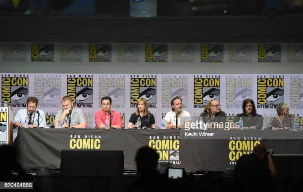 Producers Scott M Gimple Robert Kirkman David Alpert and Gale Anne Hurd actor Andrew Lincoln producer Greg Nicotero actors Norman Reedus and Melissa...