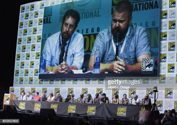 Producers Scott M Gimple Robert Kirkman David Alpert and Gale Anne Hurd actor Andrew Lincoln producer Greg Nicotero actors Norman Reedus Melissa...