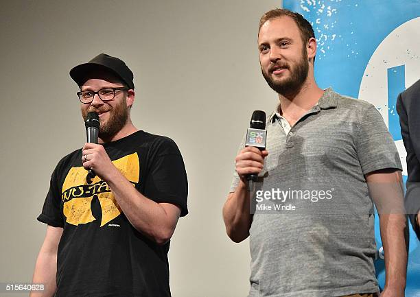 Producers Seth Rogen and Evan Goldberg attend the premiere of 'Sausage Party ' during the 2016 SXSW Music Film Interactive Festival at Paramount...