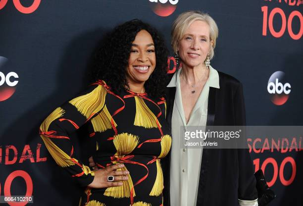 Producers Shonda Rhimes and Betsy Beers attend ABC's 'Scandal' 100th episode celebration at Fig Olive on April 8 2017 in West Hollywood California