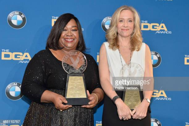 Producers Shonda Rhimes and Betsy Beers recipients of the Diversity Award pose in the press room during the 66th Annual Directors Guild Of America...