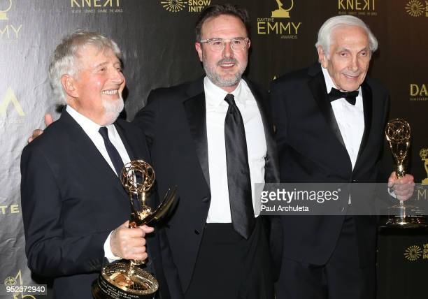 Producers Sid Krofft Actor David Arquette and Producer Marty Krofft attend the press room at the 45th Annual Daytime Creative Arts Emmy Awards at the...
