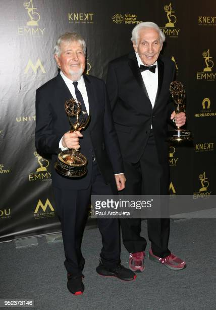 Producers Sid Krofft and Marty Krofft attend the press room at the 45th Annual Daytime Creative Arts Emmy Awards at the Pasadena Civic Auditorium on...