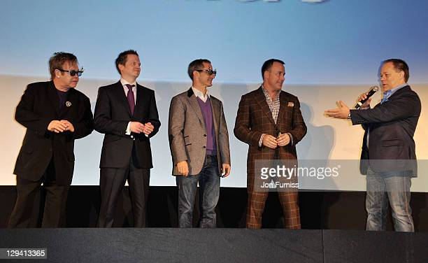 Producers Sir Elton John Steve Hamilton Shaw Baker Bloodworth David Furnish and director Kelly Asbury attend the Gnomeo Juliet premiere at Odeon...