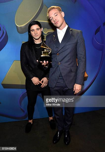 Producers Skrillex and Diplo winners of Best Dance/Electronic Album for 'Skrillex And Diplo Present Jack Ü' attend the GRAMMY PreTelecast at The 58th...