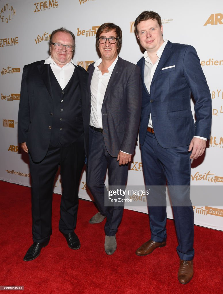 Producers Stefan Arndt, Uwe Schott and Michael Polle attend the premiere of Beta Film's 'Babylon Berlin' at The Theatre at Ace Hotel on October 6, 2017 in Los Angeles, California.