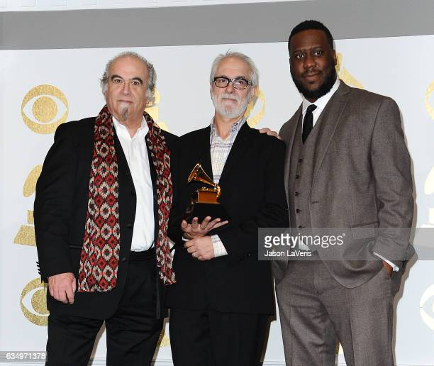 Producers Steve Berkowitz Jeff Rosen and Robert Glasper pose in the press room at the 59th GRAMMY Awards at Staples Center on February 12 2017 in Los...