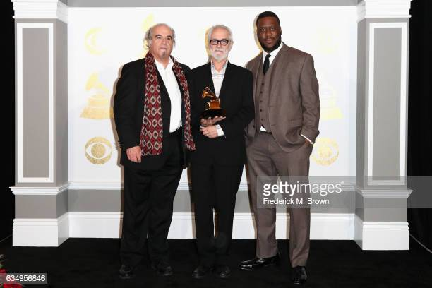 Producers Steve Berkowitz Jeff Rosen and Robert Glasper winners of Best Compilation Soundtrack for Visual Media for 'Miles Ahead' pose in the press...