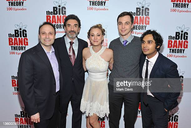 Producers Steven Molaro Chuck Lorre and actors Kaley Cuoco Jim Parsons and Kunal Nayyar pose as CBS celebrates the 100th episode of 'The Big Bang...