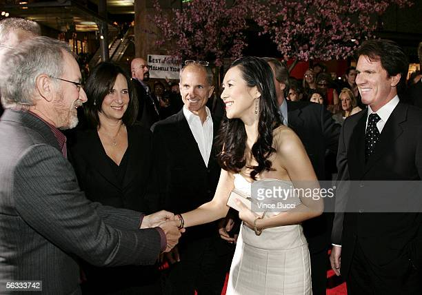 Producers Steven Spielberg, Lucy Fisher and John DeLuca, actress Ziyi Zhang and director Rob Marshall attend the Los Angeles premiere of Columbia...