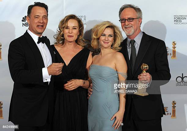 Producers Tom Hanks actress Jessica Langes Drew Barrymore and Gary Goetzman pose with their Best MiniSeries Or Motion Picture Made for Television...