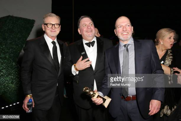 Producers Warren Littlefield Bruce Miller and Joseph Boccia attend Hulu's 2018 Golden Globes After Party at The Beverly Hilton Hotel on January 7...