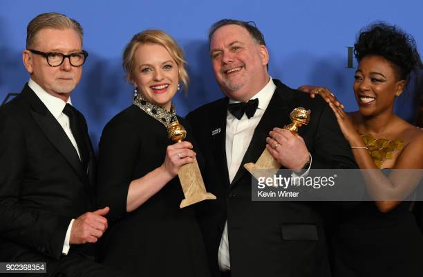 Producers Warren Littlefield, Elisabeth Moss, Bruce Miller and actor Samira Wiley of 'The Handmaid's Tale' pose with their awards for Best Television...