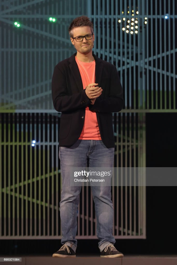 Producers Xavier Manzanares introduces 'Mario Rabbids Kingdom Battle' during the Ubisoft E3 conference at the Orpheum Theater on June 12, 2017 in Los Angeles, California. The E3 Game Conference begins on Tuesday June 13.
