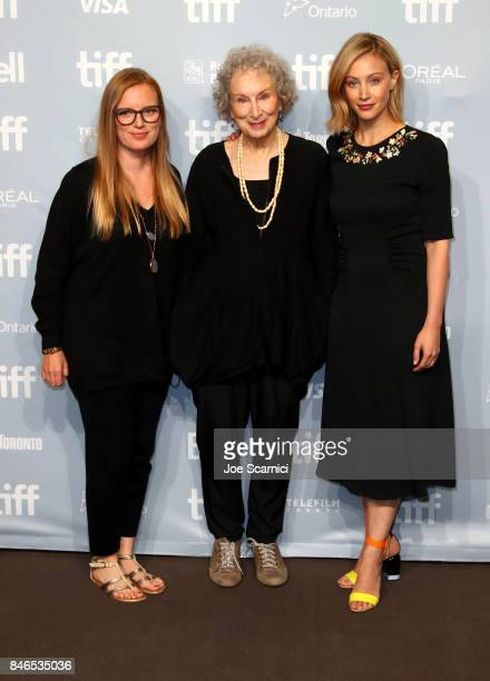 Producer/screenwriter Sarah Polley screenwriter/producer Margaret Atwood and actress Sarah Gadon attend Alias Grace' Press Conference during the 2017...