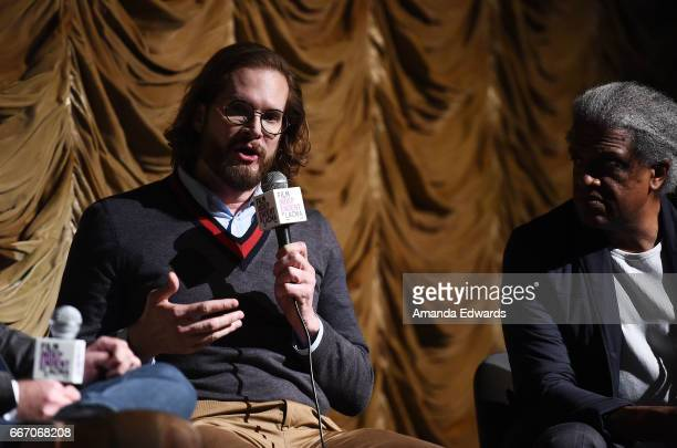 Producer/showrunner Bryan Fuller and Film Independent at LACMA film curator Elvis Mitchell attend the Film Independent at LACMA special screening and...
