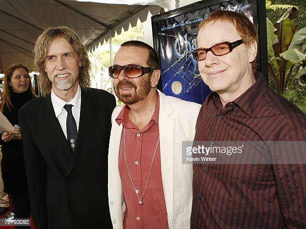 Producer/songwriter Glen Ballard and musicians Dave Stewart and Danny Elfman pose at the Los Angeles premiere of Paramount's Charlotte's Web at the...