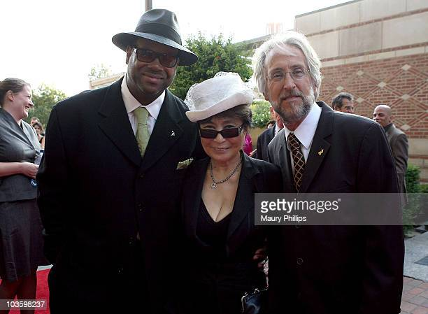 Producer/songwriter Jimmy Jam Yoko Ono and president/CEO of the Recording Academy Neil Portnow attend GRAMMY Foundation's Starry Night Gala on July...