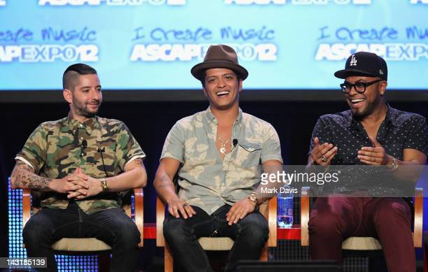 Producers/songwriters Ari Levine Bruno Mars and Philip Lawrence speak onstage at Just the Way They Are Master Sessions with The Smeezingtons during...