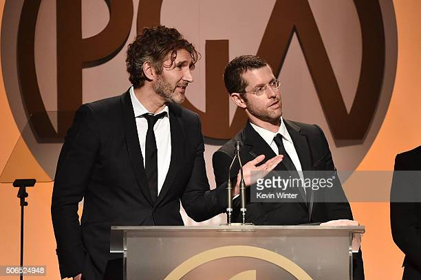 Producers/writers David Benioff and D B Weiss accept The Norman Felton Award for Outstanding Producer of Episodic Television Drama for 'Game of...