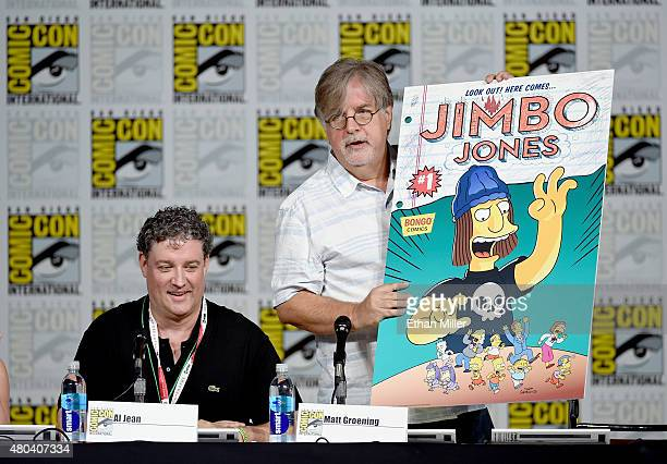 Producer/writer Al Jean looks on as producer/writer Matt Groening unveils the cover of the Jimbo Jones issue of Bongo Comics' Simpsons Comics OneShot...