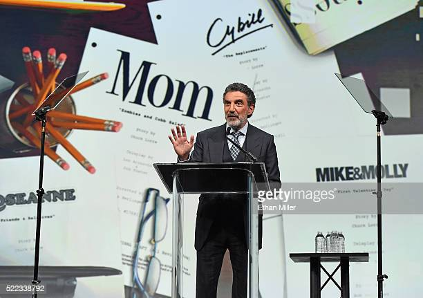 Producer/writer Chuck Lorre speaks after being inducted into the NAB Broadcasting Hall of Fame during NAB Show's Television Luncheon at the Westgate...