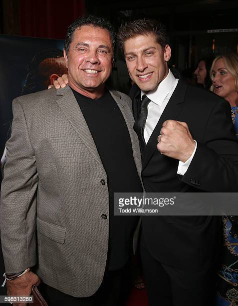 Producer/Writer Dimitri Logothetis and Alain Moussi attend the premiere Of RLJ Entertainment's 'Kickboxer Vengeance' at iPic Theaters on August 31...