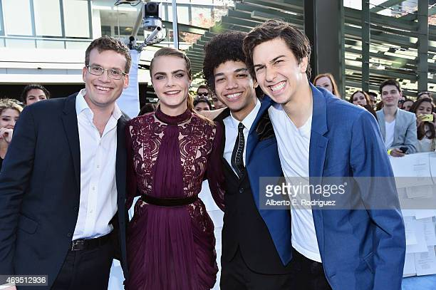 Producer/writer John Green actors Cara Delevingne Justice Smith and Nat Wolff attend The 2015 MTV Movie Awards at Nokia Theatre LA Live on April 12...