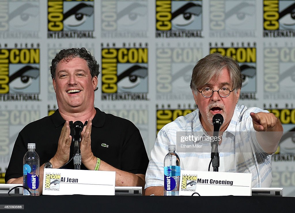 Producer/writer Matt Groening (L) and filmmaker Guillermo del Toro attend 'The Simpsons' panel during Comic-Con International 2015 at the San Diego Convention Center on July 11, 2015 in San Diego, California.